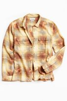 Urban Outfitters Cole Bleached Shadow Plaid Flannel Button-Down Shirt