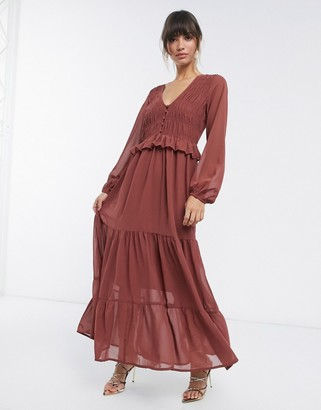 ASOS DESIGN shirred ruffle tiered maxi dress in brown