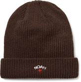 Noah - Embroidered Ribbed-knit Beanie
