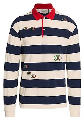 Gucci Striped Cotton Jersey Polo Shirt
