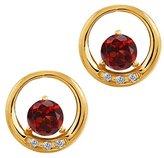 Gem Stone King 1.24 Ct Round Red Garnet and White Diamond 18k Yellow Gold Earrings