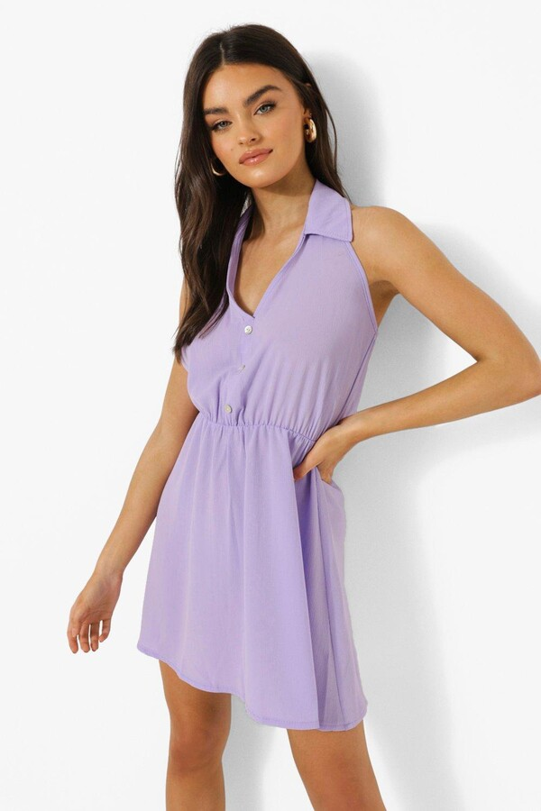 Thumbnail for your product : boohoo Sleeveless Collared Shirt Dress