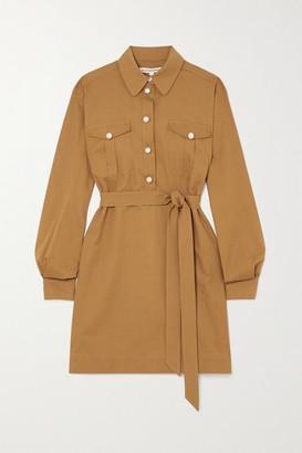 ALEXACHUNG Albertine Belted Faux Pearl-embellished Cotton Mini Shirt Dress - Tan