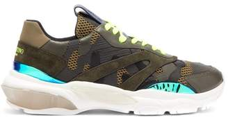 Valentino Bounce Leather Trainers - Mens - Green Multi