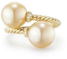 David Yurman Solari 18k Pearl Bypass Ring w/ Diamonds, Size 6