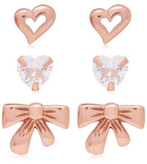 Link Up 3-Piece Set Crystal Hearts and Bow Stud Earrings in 18K Rose Gold Over Sterling Silver