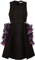 Mary Katrantzou Black Silk Mini Dress with Ruffled Detail