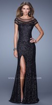 La Femme Sequin Sheer Panel Prom Dress