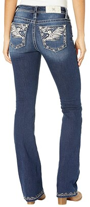 Miss Me Mid-Rise Wing Bootcut with Embroidered Hem in Dark Blue (Dark Blue) Women's Jeans