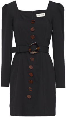 Nicholas Belted Button-embellished Twill Mini Dress