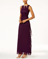 Betsy & Adam B&A by Embellished Keyhole Ruched Gown