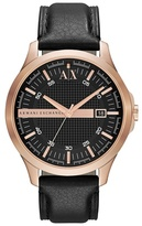 Armani Exchange Rose Gold Case Black Leather Strap Watch Ax2129