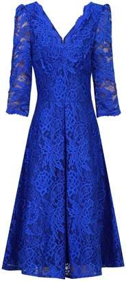Dorothy Perkins Womens *Jolie Moi Royal Blue 3/4 Sleeve Lace Prom Dress, Blue