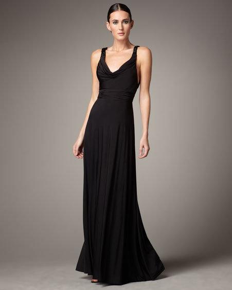 Aidan Mattox Low-Back Jersey Gown