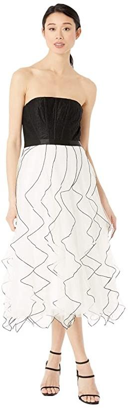BCBGMAXAZRIA Tea Length Tulle Skirt Dress (Off-White Combo) Women's Dress
