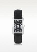Emporio Armani Stainless Steel Unisex Watch w/Leather Strap