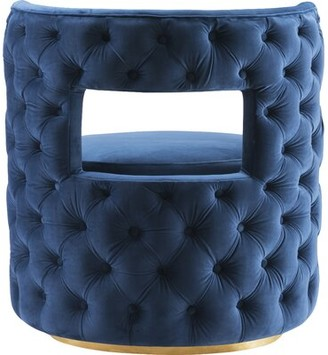 Everly Jim Swivel Barrel Chair Quinn Fabric: Navy Velvet