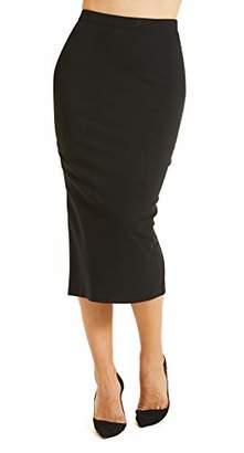 SONJA BETRO Women's Casual Fashion Office Elastic Waist Slim Pencil Knee Length Solid Ponte Knit Sexy Skirt /