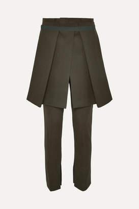 Sacai Melton Layered Grosgrain-trimmed Wool-blend Slim-leg Pants - Army green