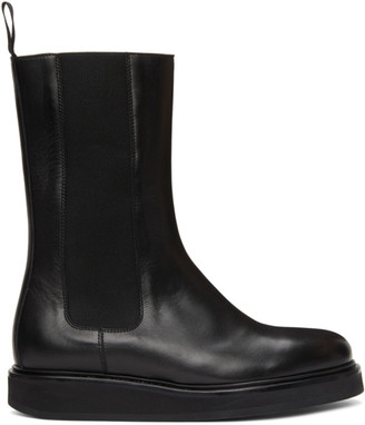 LEGRES Black Leather Mid-Calf Chelsea Boots