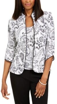 Alex Evenings Printed Mandarin-Collar Jacket & Top Set