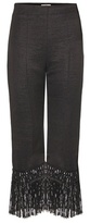 Edun Fringed wool-blend cropped trousers