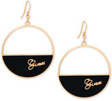 GUESS Gold-Tone Black Imitation Suede Logo Drop Hoop Earrings