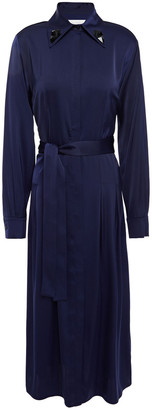 Victoria Victoria Beckham Belted Hammered Satin-crepe Midi Dress