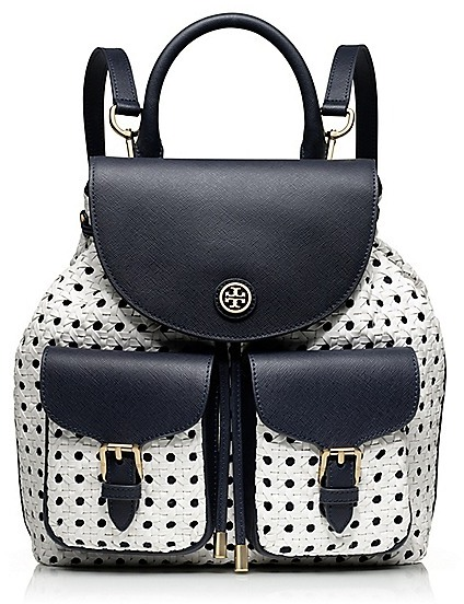Tory Burch Robinson Basket-Weave Backpack