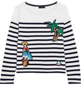 J.Crew Coco Cabana Appliquéd Striped Cotton-jersey Top