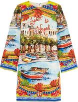 Dolce & Gabbana Embellished printed stretch-silk tunic