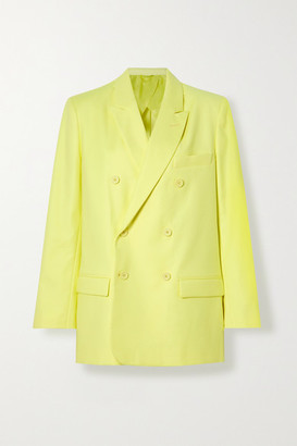 ATTICO Double-breasted Cotton-blend Twill Blazer - Pastel yellow