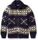 Junya Watanabe Jacquard-Knit Wool Zip-Up Sweater