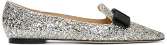 Jimmy Choo Silver and Gold Mix Speckled Glitter Gala Flats
