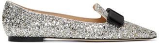 Jimmy Choo Silver Coarse Glitter Gala Flats