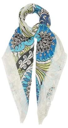 Loewe Floral And Anagram-print Gauze Scarf - Blue