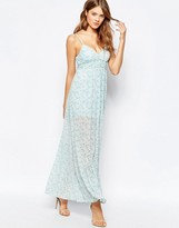 Traffic People Cami Maxi Dress In Ditsy Floral Print