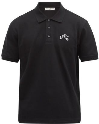 Givenchy Refracted Logo-embroidered Cotton-pique Polo Shirt - Black