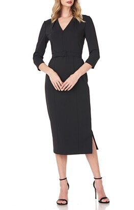Kay Unger Skylar Crepe Midi Cocktail Dress