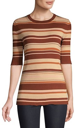 Lafayette 148 New York Silk-Blend Striped Rib-Knit T-Shirt