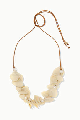 Dinosaur Designs Pipi Leather, Resin And Faux Pearl Necklace - Ivory