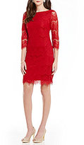 Jessica Howard Petite 3/4 Sleeve Lace Dress