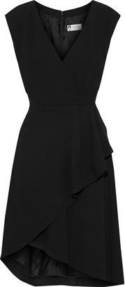 Lanvin Wrap-effect Pleated Wool-crepe Dress