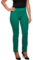 As Is Women with Control Petite Ruched Side Waist Slim Leg Pants