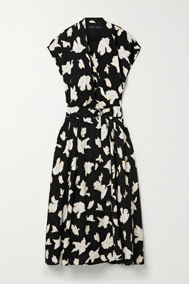Proenza Schouler Belted Floral-print Georgette Midi Dress - Black