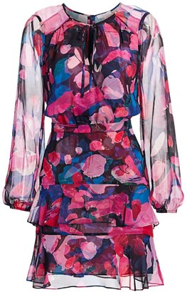 Parker Marengo Abstract Chiffon Silk Blouson Dress