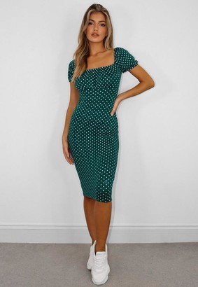 Missguided Green Polka Dot Ruched Bust Milkmaid Midi Dress
