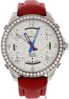 Jacob & co Five Time Zones Diamond Bezel Red Leather Strap Men's Watch