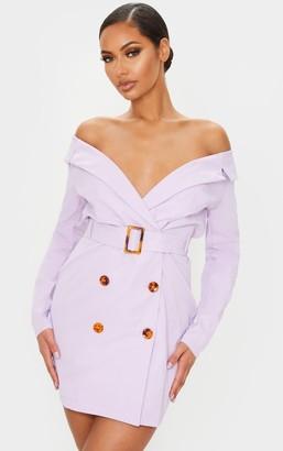 Bardot Loccoapp Lilac Tortoise Button Belted Blazer Dress