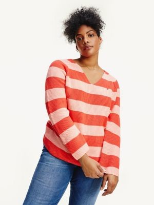 Tommy Hilfiger Curve Rib-Knit V-Neck Relaxed Fit Jumper